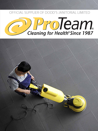 ProTeam logo and man cleaning